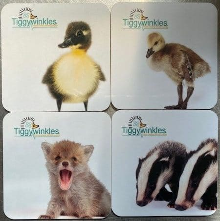 Image showing 4 coasters; a duckling, gosling, fox cub and two badger cubs are featured